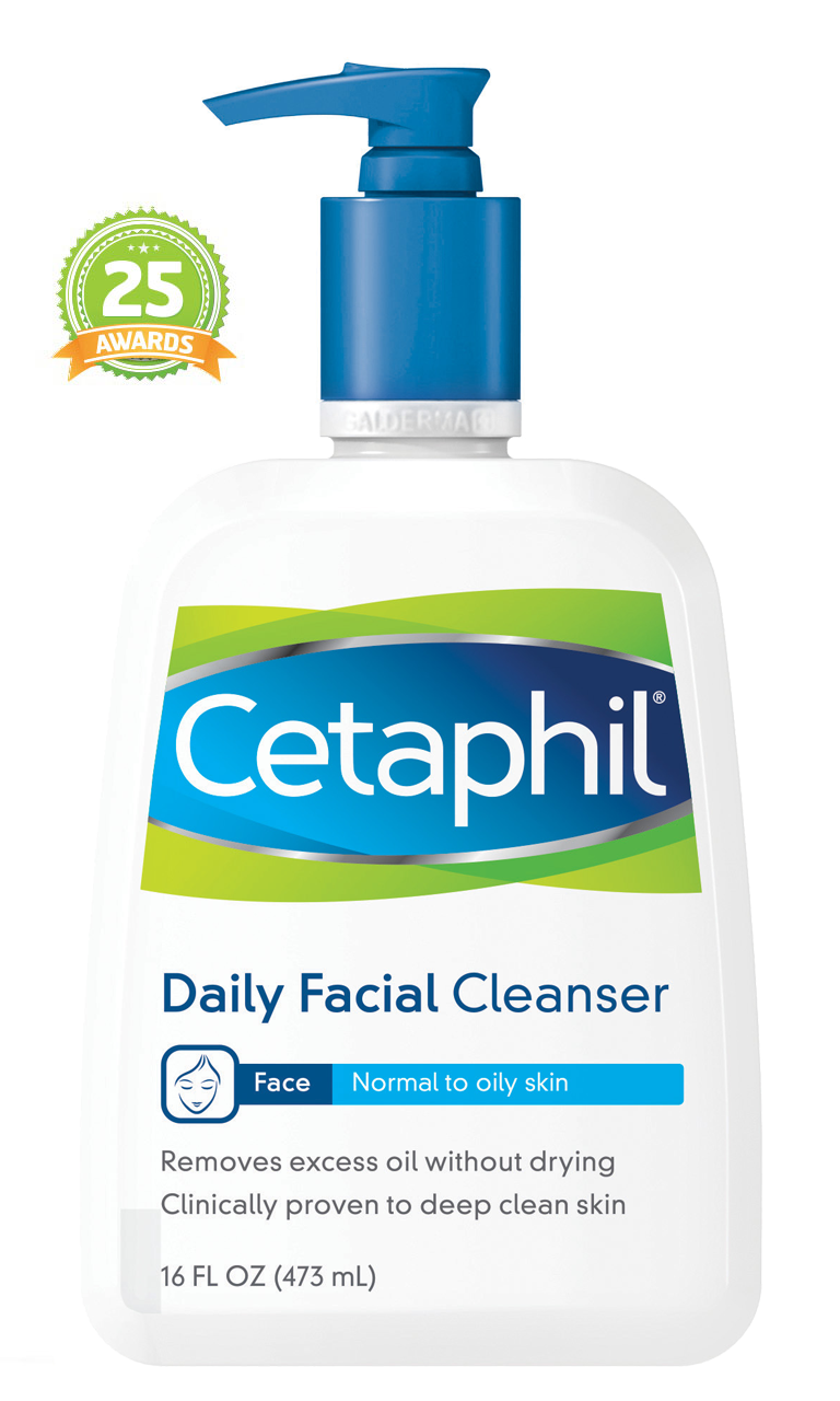 Cetaphil daily facial cleanser - First, cleanse with 1-2 pumps Cetaphil face wash.