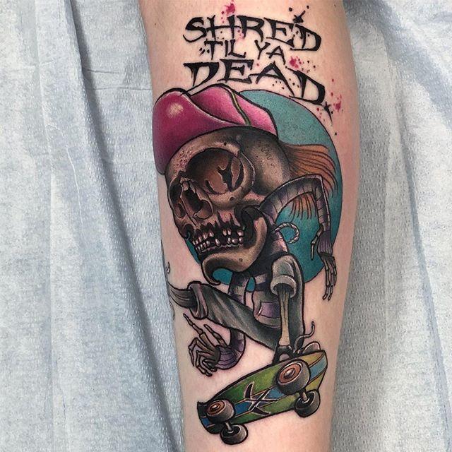 Did this Shred Til Ya Dead skater skull dude on @trillsailor today. Thanks for looking. . . . . . #terynlanceart #blackcobratattoos #heliosproteam #littlerock#insta#instagood#instatattoo #instagram#arkansas#tattoo#ink