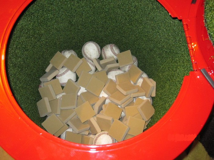 add dirty baseballs to drum - step 1