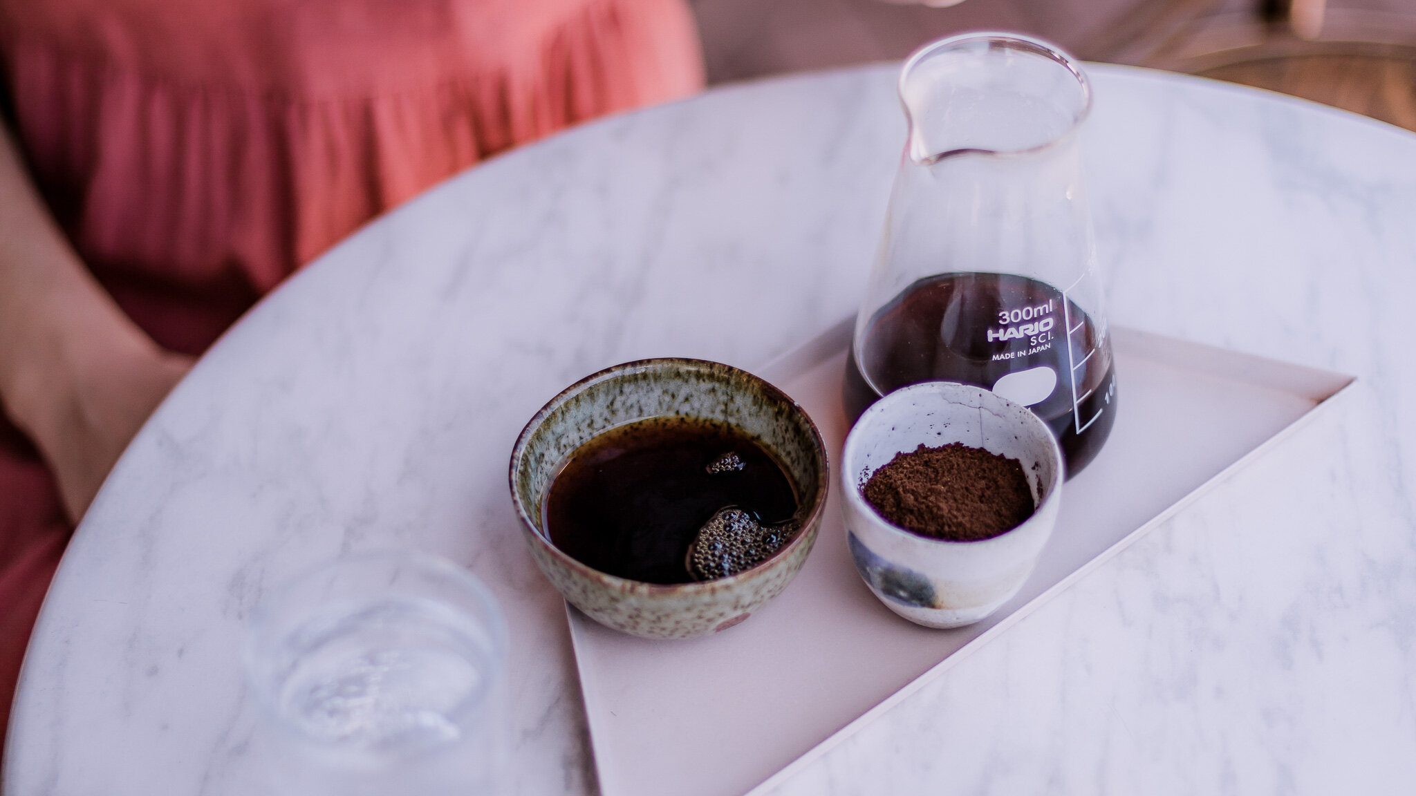 Enjoy your Hario V60. We like to serve our V60's with some grinds on the side so customers can experience the aroma of the freshly ground single origin.