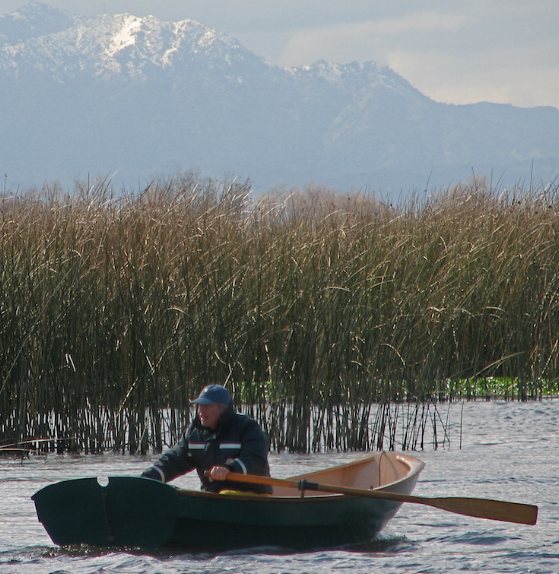 President's Day Row in the SF Delta, with a rare snow-capped Mt. Diablo in the background.