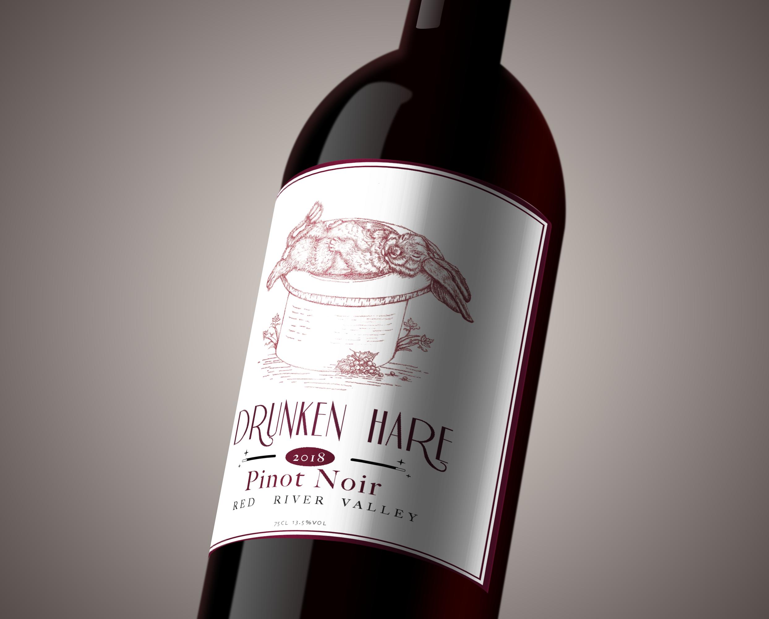 Concept label for Drunken Hare Pinot Noir