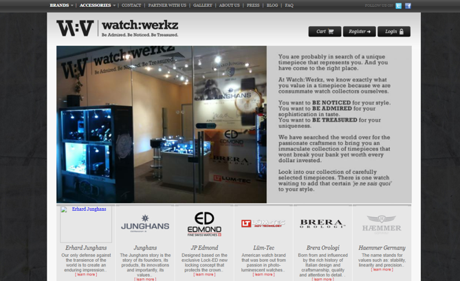 WatchWerkz.com.sg - Founder (UX Researcher) - 2008 to 2013E-commerce redesigned for self start-up company, WatchWerkz; Singapore's leading specialist in bespoke timepieces.