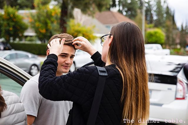 She brought the makeup, he brought the stare (approx. 1,000-yards) - the talented Alison Embury and Carson Boatman prep for our final scene. :) #hairandmakeup #1000yardstare #readyformycloseup #behindthescenes #onset