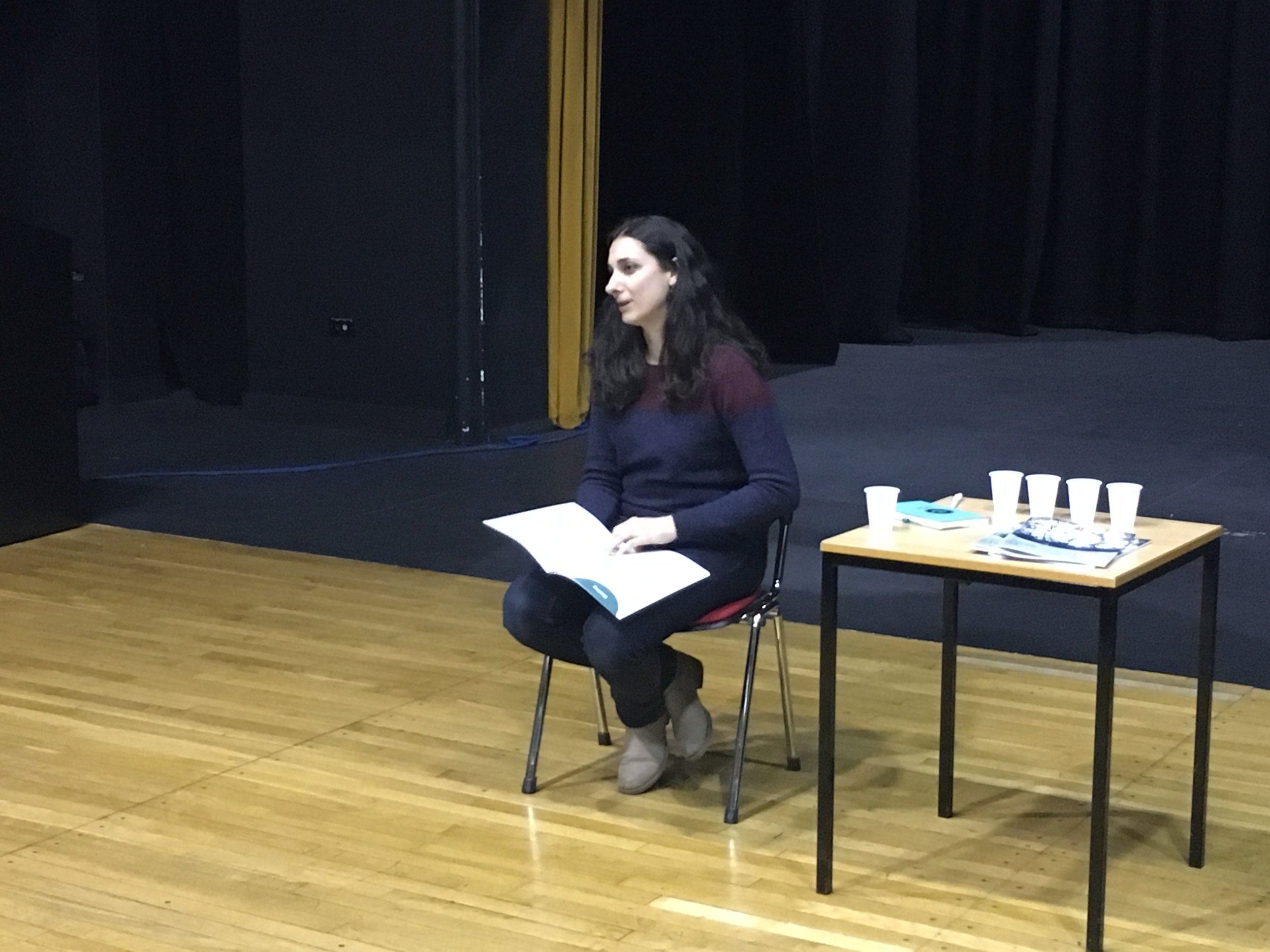 Kristina Gavran, a PhD student in Storytelling at Loughborough University, read her published poem, 'Waiting'. We love how Kristina chose to sit down and own the space for her reading!