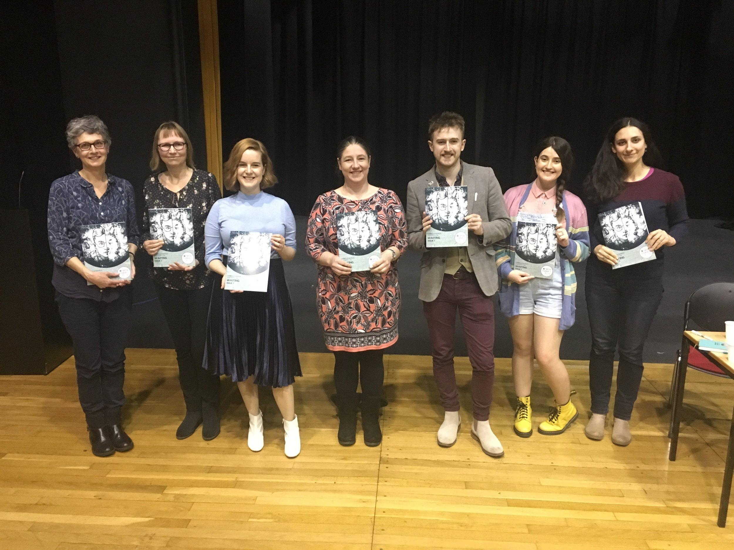 We ended the launch with a group picture of our seven published writers that were able to be here to read and to celebrate this momentous occasion with us!  From left to right: Sarah, Clare, Hayley, Sarah H, Rupert, Amy and Kristina.  With thanks to our other 16 writers published in this issue and all those who attended, supported, worked on and have purchased this issue.