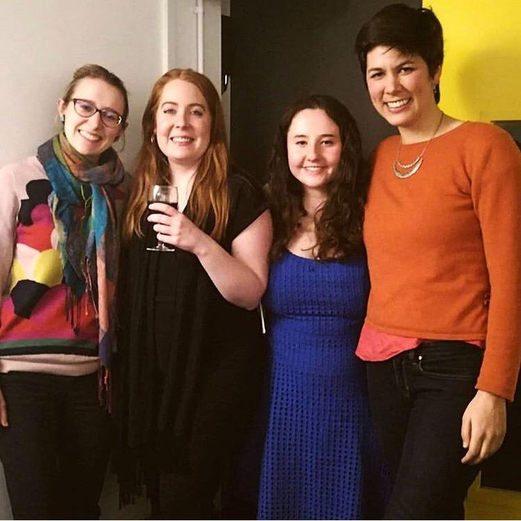 We were so excited to share the space with such wonderful writers! Here's Sophie with our three poets (L-R: Phoebe Power, Sophie, Rachel Lewis, and Eloise Stevens).
