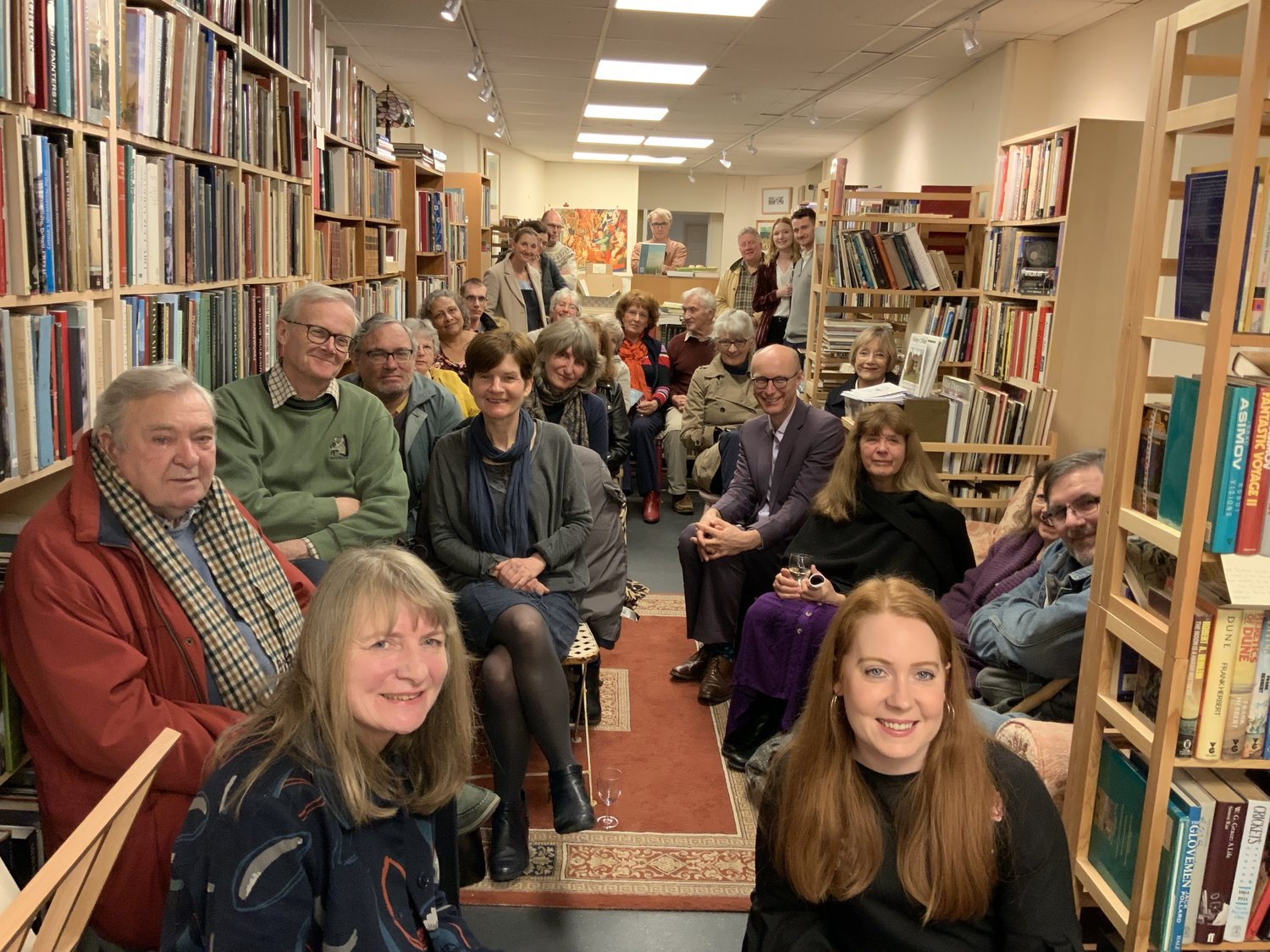 Launch of Adversaries / Comrades - In March, we travelled to Dorchester (Dorset) to host and celebrate the launch of Gail Aldwin's debut poetry pamphlet, adversaries / comrades.Surrounded by books, we celebrated with wine, music from Magdalena Atkinson and readings from Gail herself.