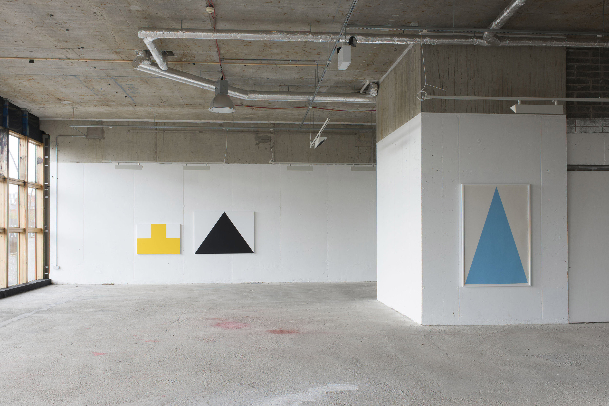 Installation view Green On Red Gallery, Dublin, 2016, Back wall: Yellow, Marine Both paintings  Acrylic on aluminium. Wall on right: Light Sky, Chalk pastel on paper