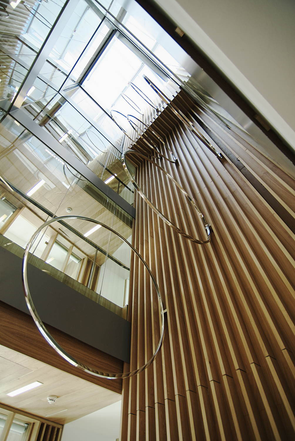 Lincoln Place, 2010, Sculpture for four-storey atrium Stainless steel, Dimensions variable
