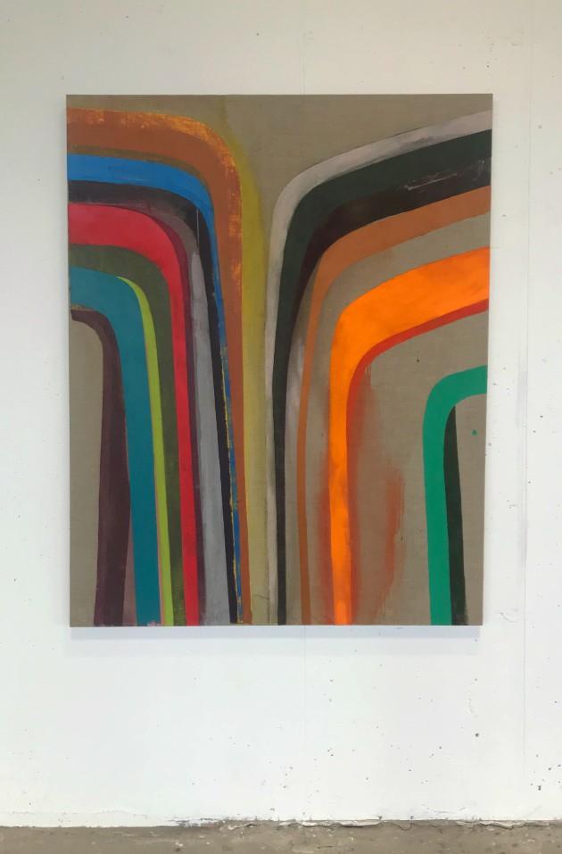 Mark Joyce, Glissando, 2018, acrylic on raw linen, 138 x 106 cm