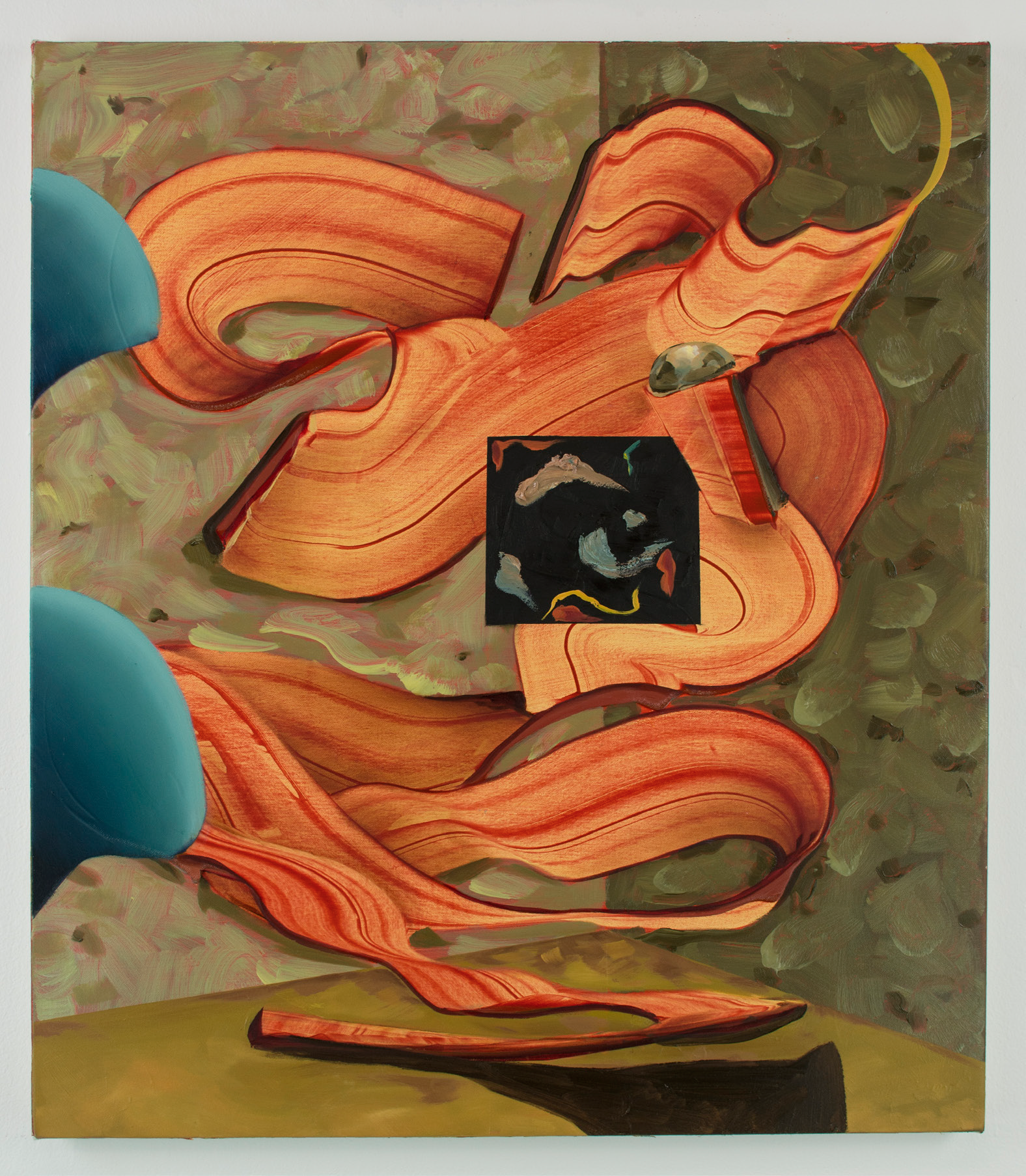 D. Flood, ' Shape of Things',  oil on reversed black primed canvas, 80 x 100 cm