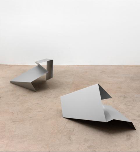 Kirstin Arndt , o.T., (flyer/rectangle),2006, Anodized aluminium,68 x 42 x 35cms and 65 x 50 x 45cms