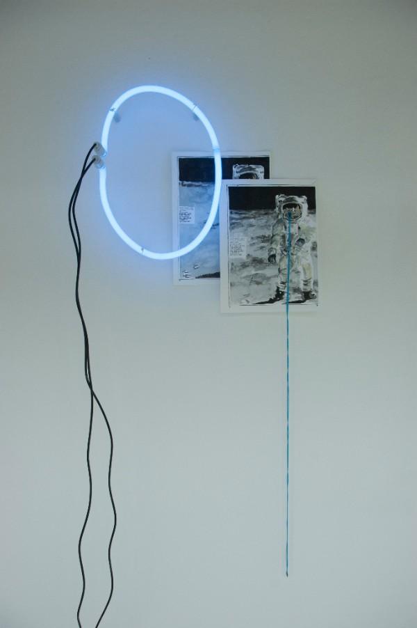 Niamh McCann, Model , 2012, Neon, Watercolour on Paper, wool, 120 x 55 x 20 cms
