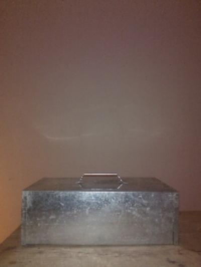 Storms , 2014, Steel box with sound, mp3 player, speaker, 25 x 42 x 10cms, 20mins