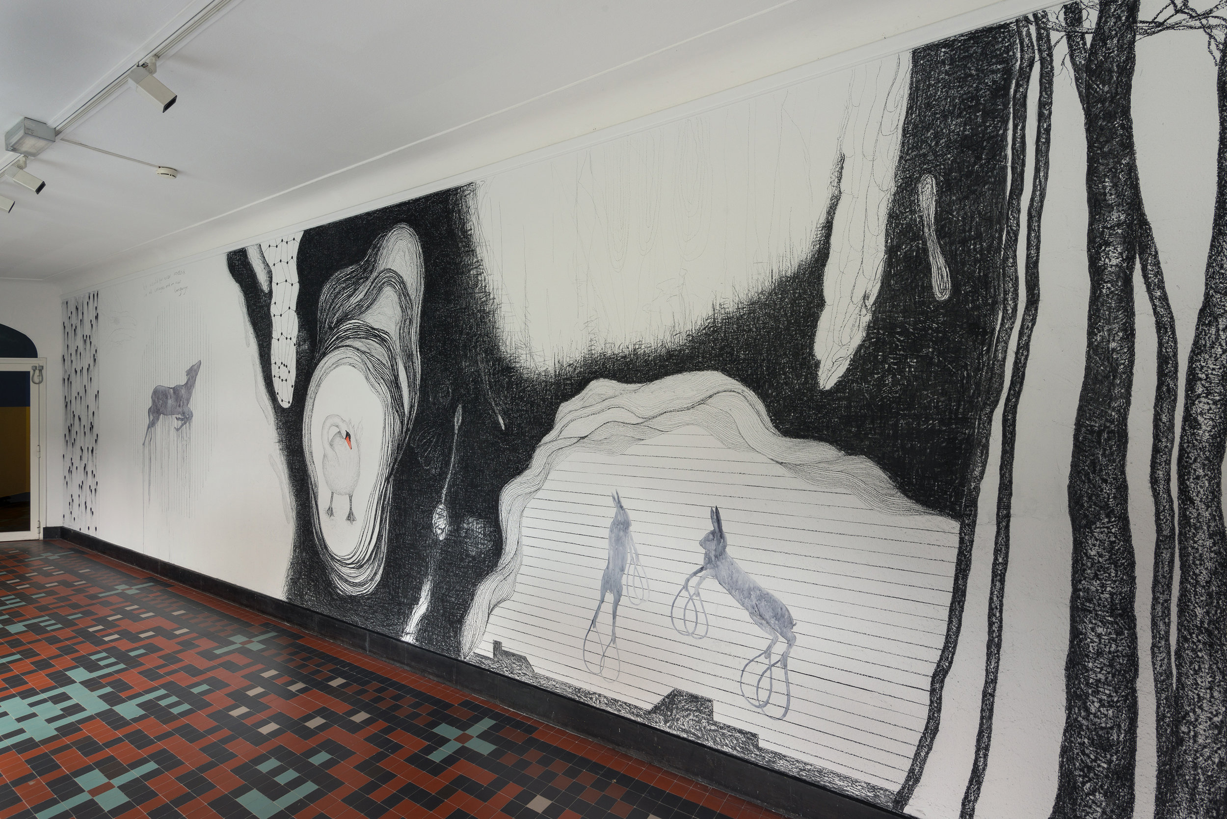 Untitled, walldrawing, 3,2 x 10 meters, charcoal and watercolor, 2017