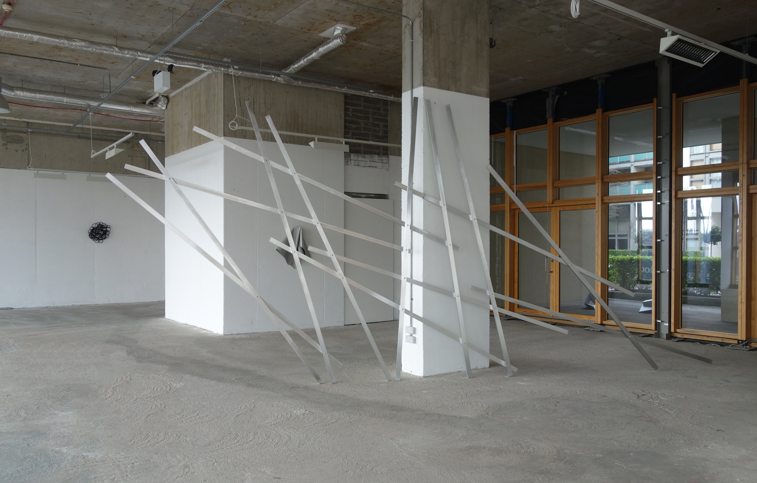 o.T., (untitled) 2009,  750 x 320 x 7 cm, aluminium, steel screws
