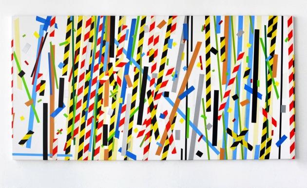 Riot, 2015, acrylic paint on canvas, 300 x 150cms.