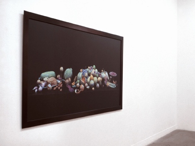 The Luncheon, 2002  Framed photograph of a sculpture made from wet toilet paper, disposable tableware, real stalks, plastic flies. Dims.: 183 x 122cms