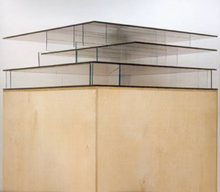 Untitled (Space Model No. 2) 2 -Way mirror, glass and plywood 86 x 64.5 x 64.6 2002