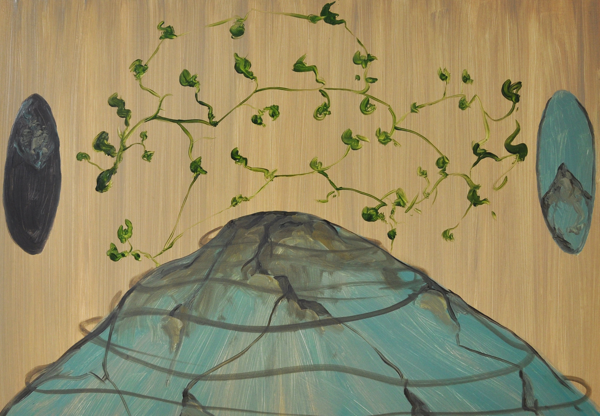 Surface to Surface, 2010, Oil on cotton, 50 x 70 cm