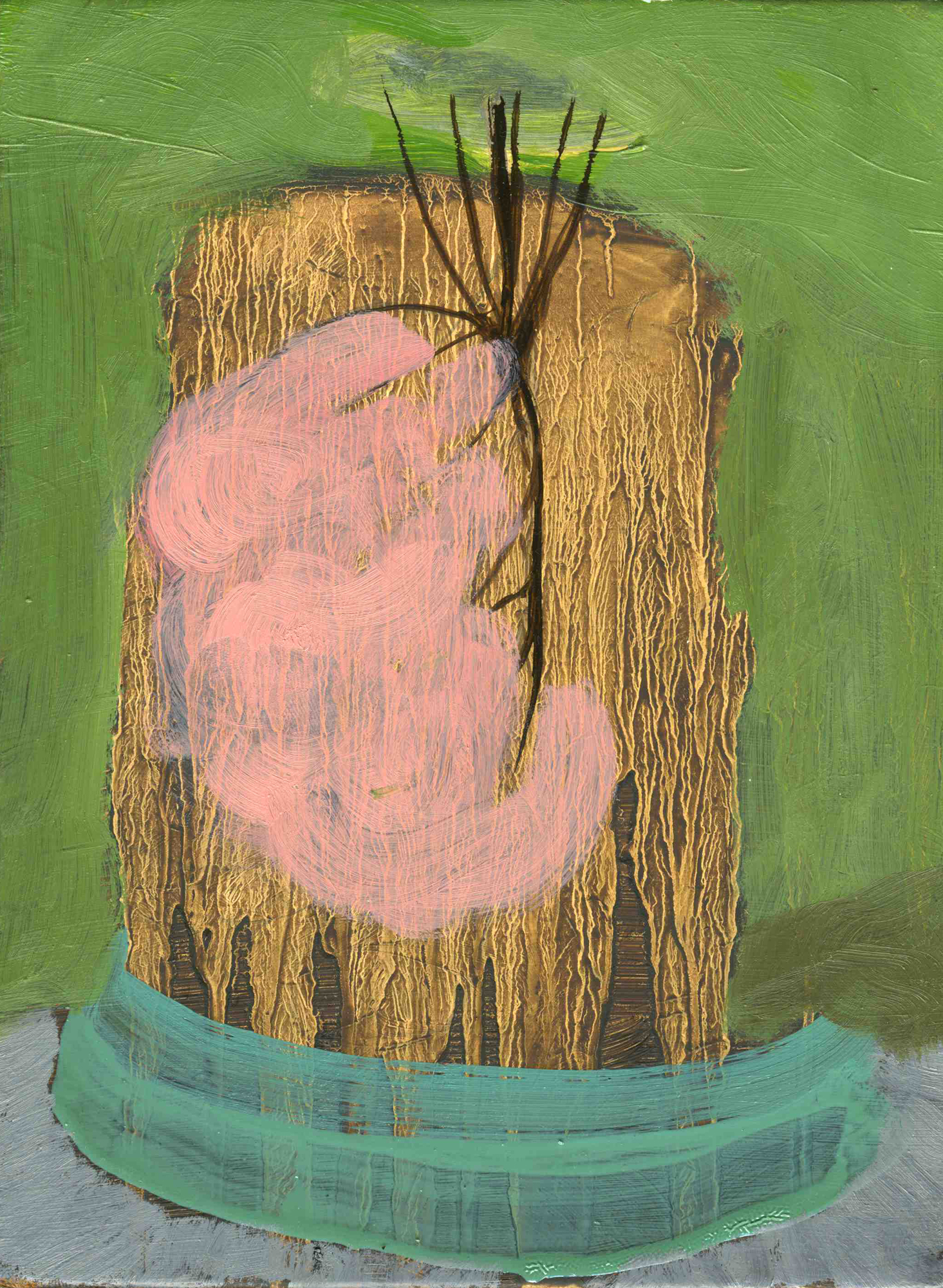 Untitled II, 2008, Oil on cotton, 24 x 18 cm