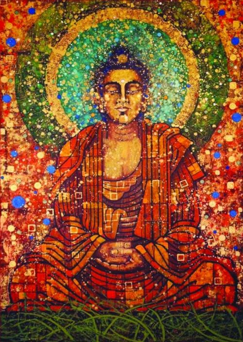 Buddha painting by Aloka at the Nottingham Buddhist Centre