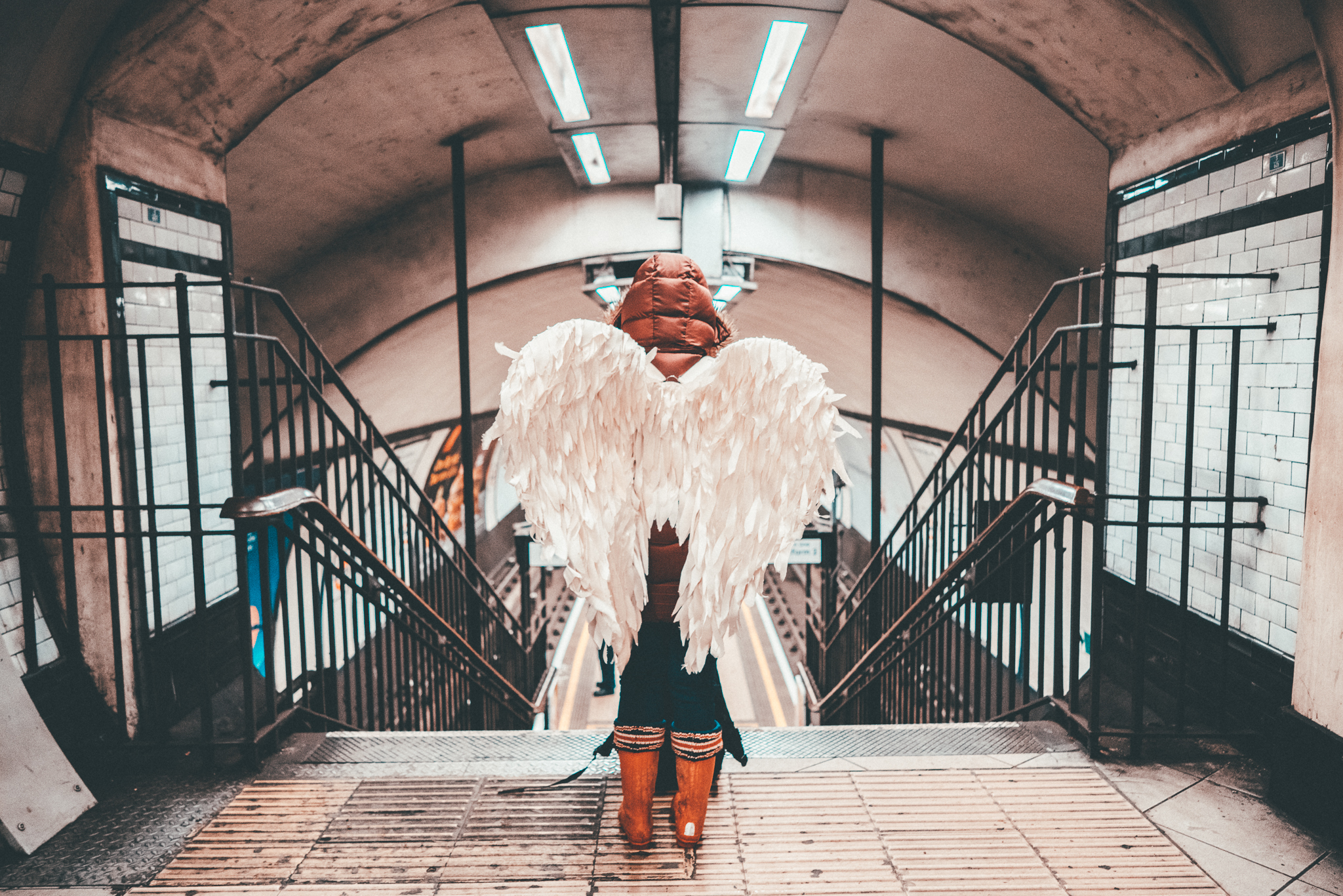 Woman with Wings on London Underground _Courage Adventures
