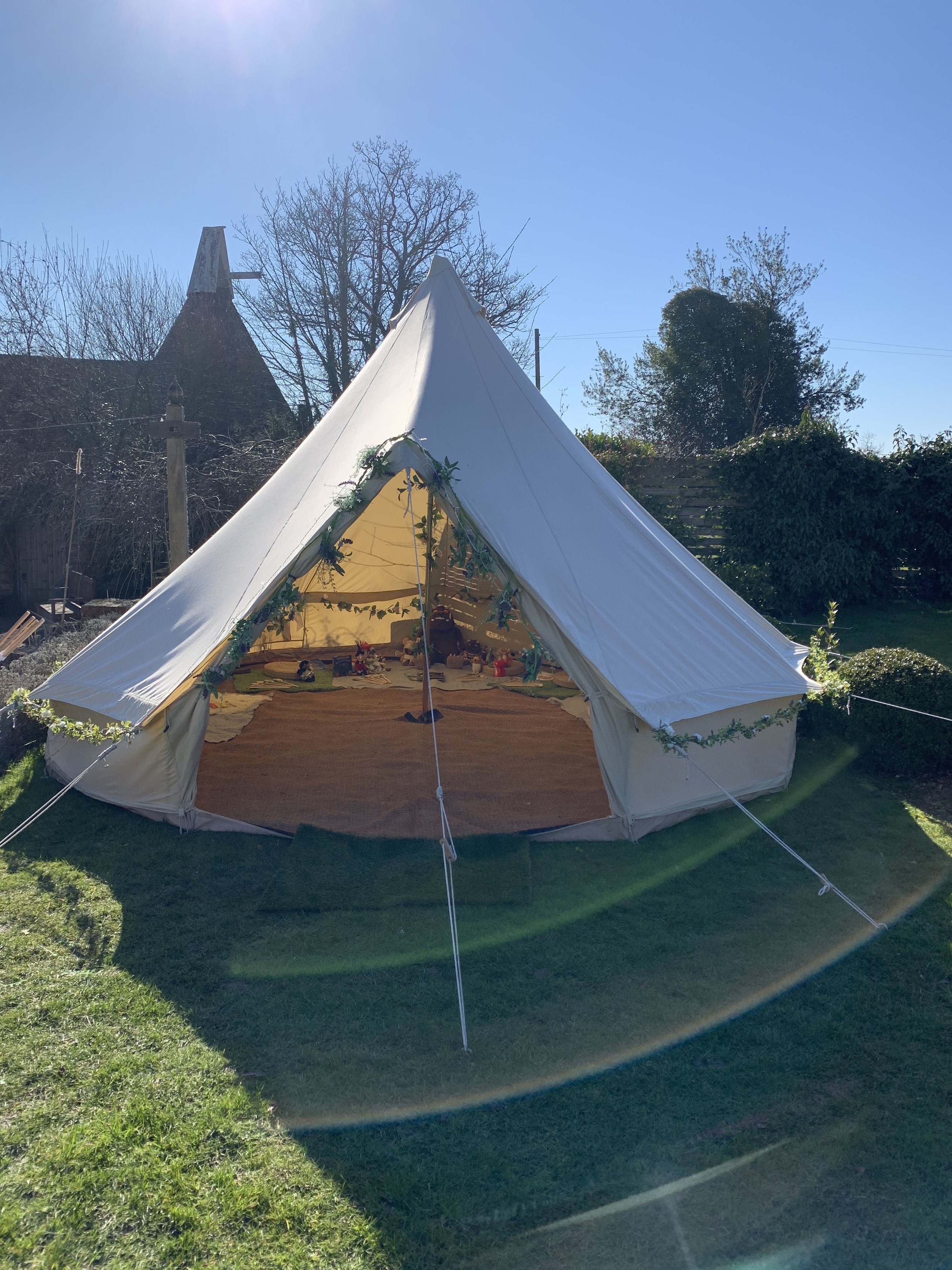 The story tent outside- we were so lucky with the weather!