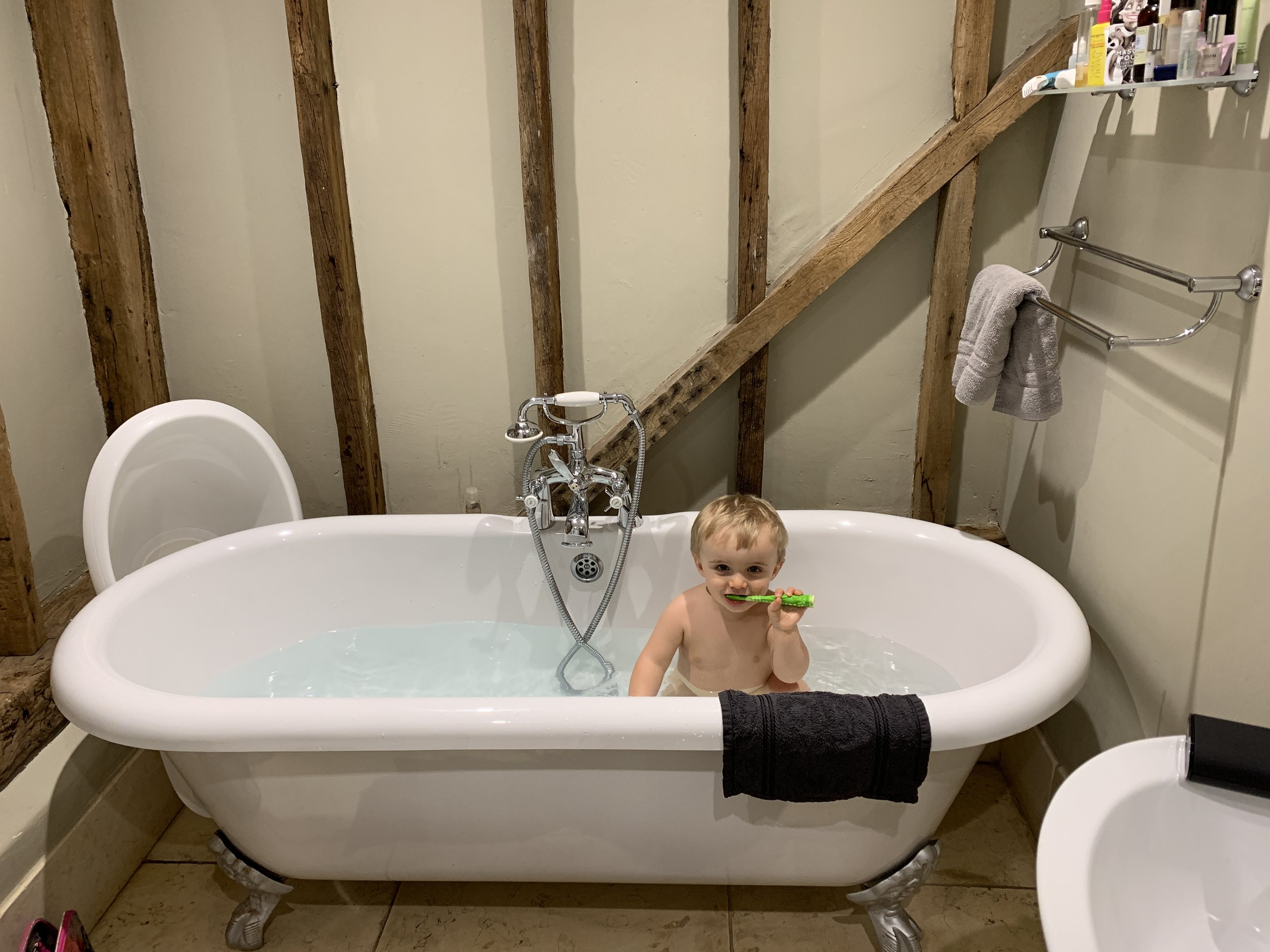 Leo in the freestanding bath- was lovely to have mornings and evenings together.