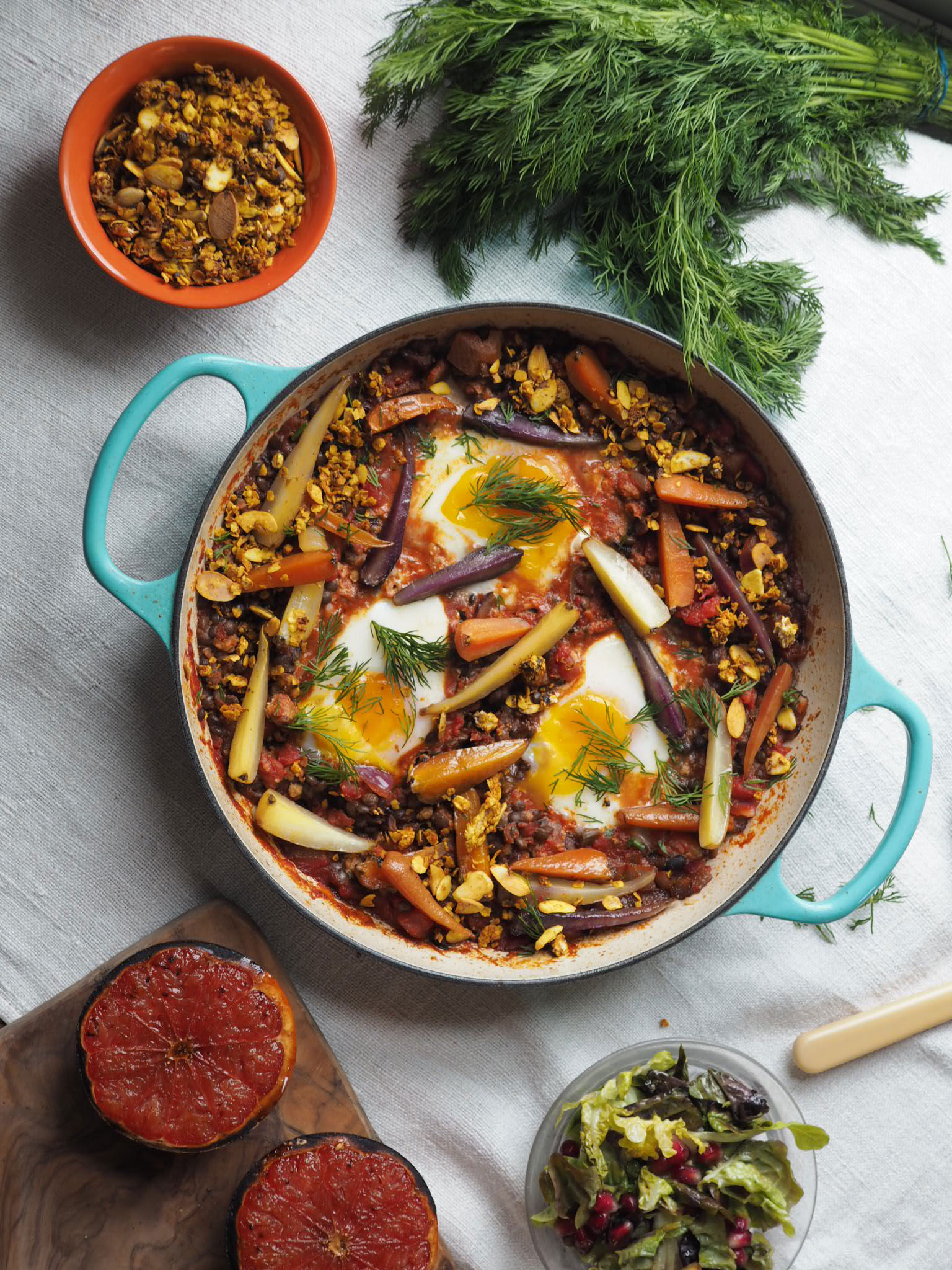 shakshuka, grilled veg and savoury granola