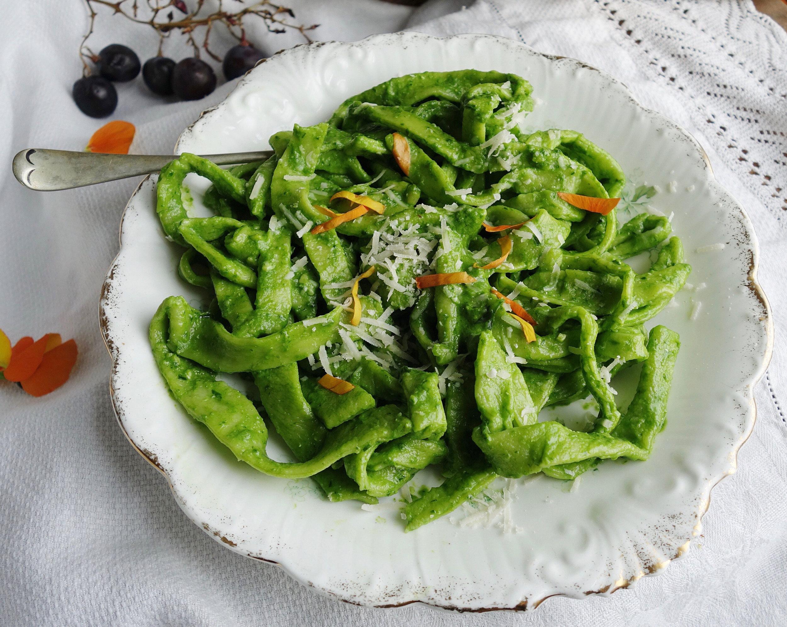 homemade pasta with wild garlic