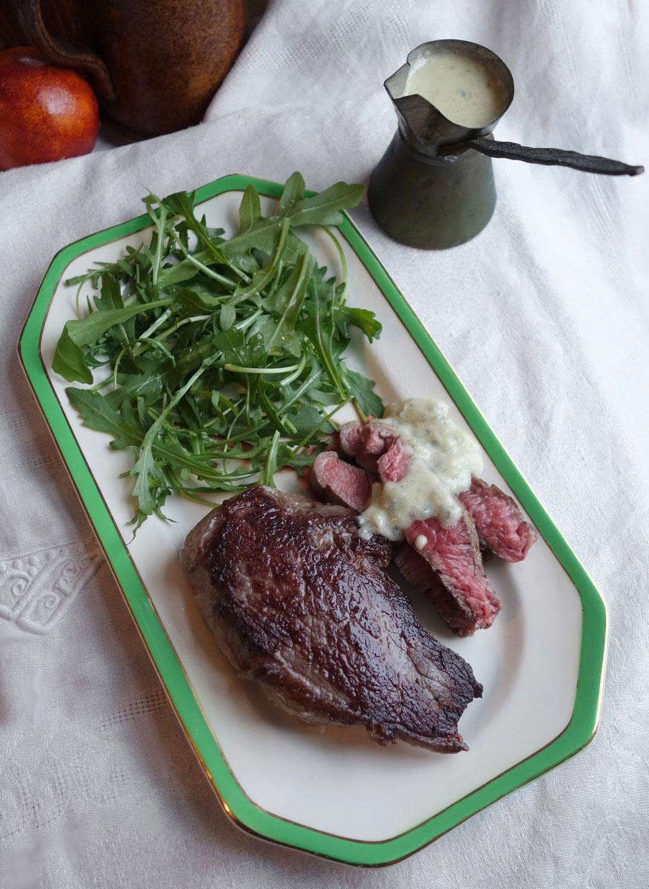grassfed steak rocket salad roquefort dressing