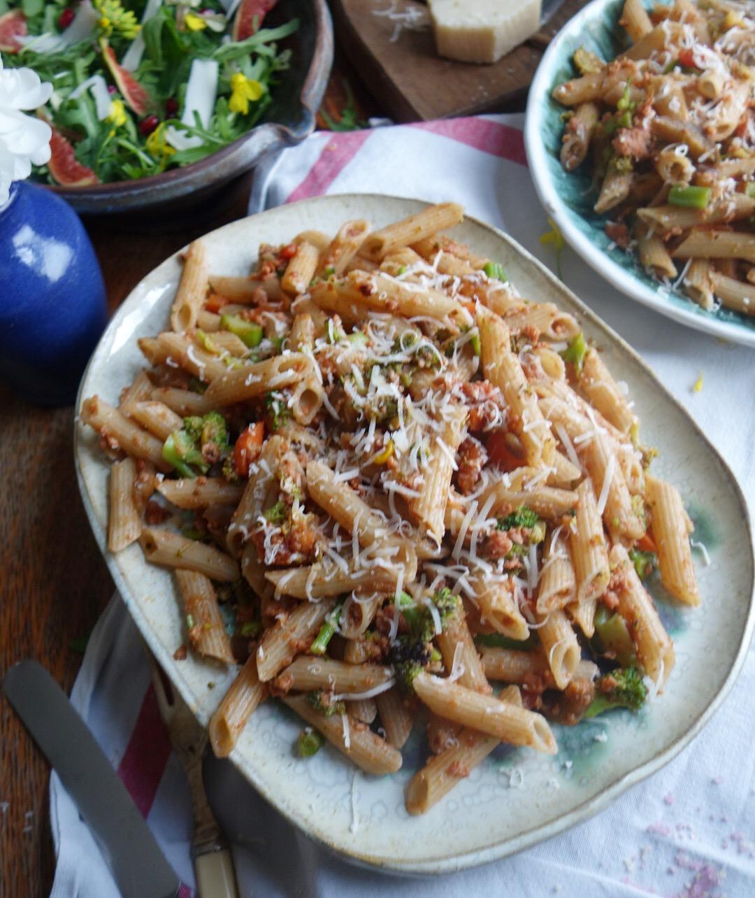 organic sausage and veg packed gluten free pasta