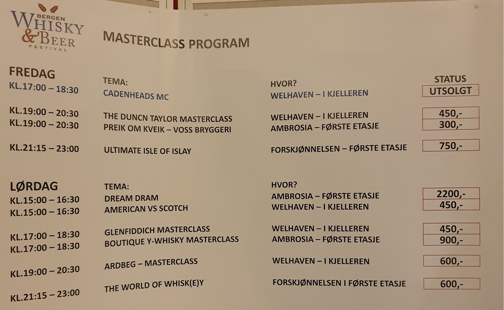 The masterclasses for today and tomorrow. Cadenhead tasting already sold out.