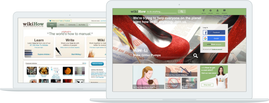 Redesign - In October of 2013, wikiHow launched a full site redesign. The redesign featured five primary changes: improved navigation, a clean layout, a bold color scheme, a static header and most importantly - a spotlight on visual content.A large scrolling image header, increased image sizes on article pages, and newly structured content helped to make wikiHow known as a visual brand.
