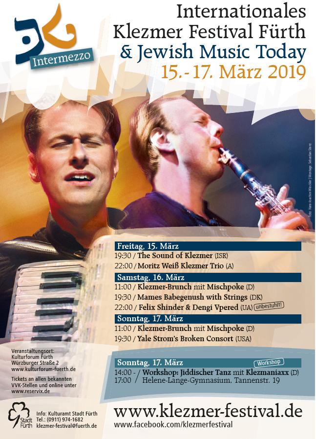 Plakat für das Internationales Klezmer Festival Fürth & Jewish Music Today vom 15.- 17. März 2019
