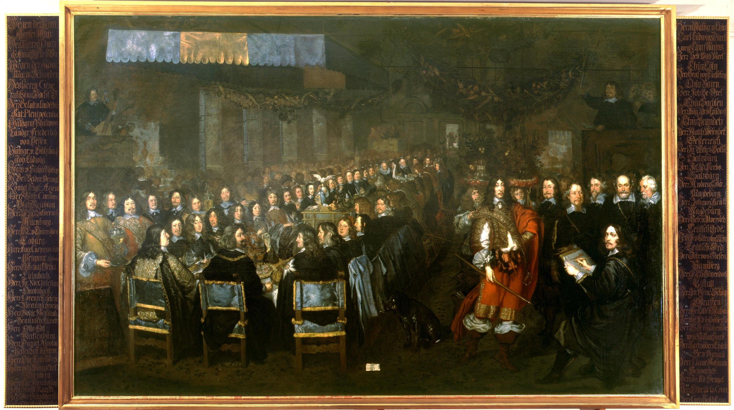 Joachim von Sandrart d. Ä.: Das Friedensmahl im großen Rathaussaal zu Nürnberg am 25.9.1649. Foto: Museen der Stadt Nürnberg, Kunstsammlungen