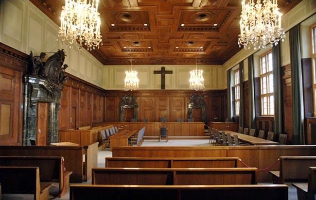 Saal 600 im Nürnberger Justizpalast. Foto: Museen der Stadt Nürnberg