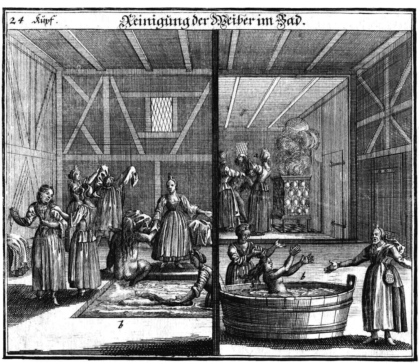 """Kupferstich von Puschner """"Reinigung der Weiber im Bad"""", aus: Paul Christian Kirchner: Jüdisches Ceremoniel, Nürnberg um 1730. Foto: Jüdisches Museum Franken"""