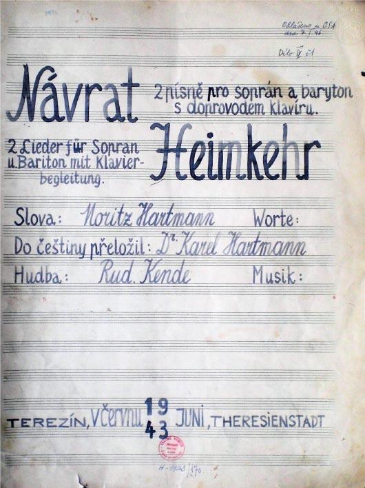 Titelblatt einer Komposition von Rudolf Kende