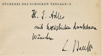 Widmung von Leo Baeck an H.G. Adler