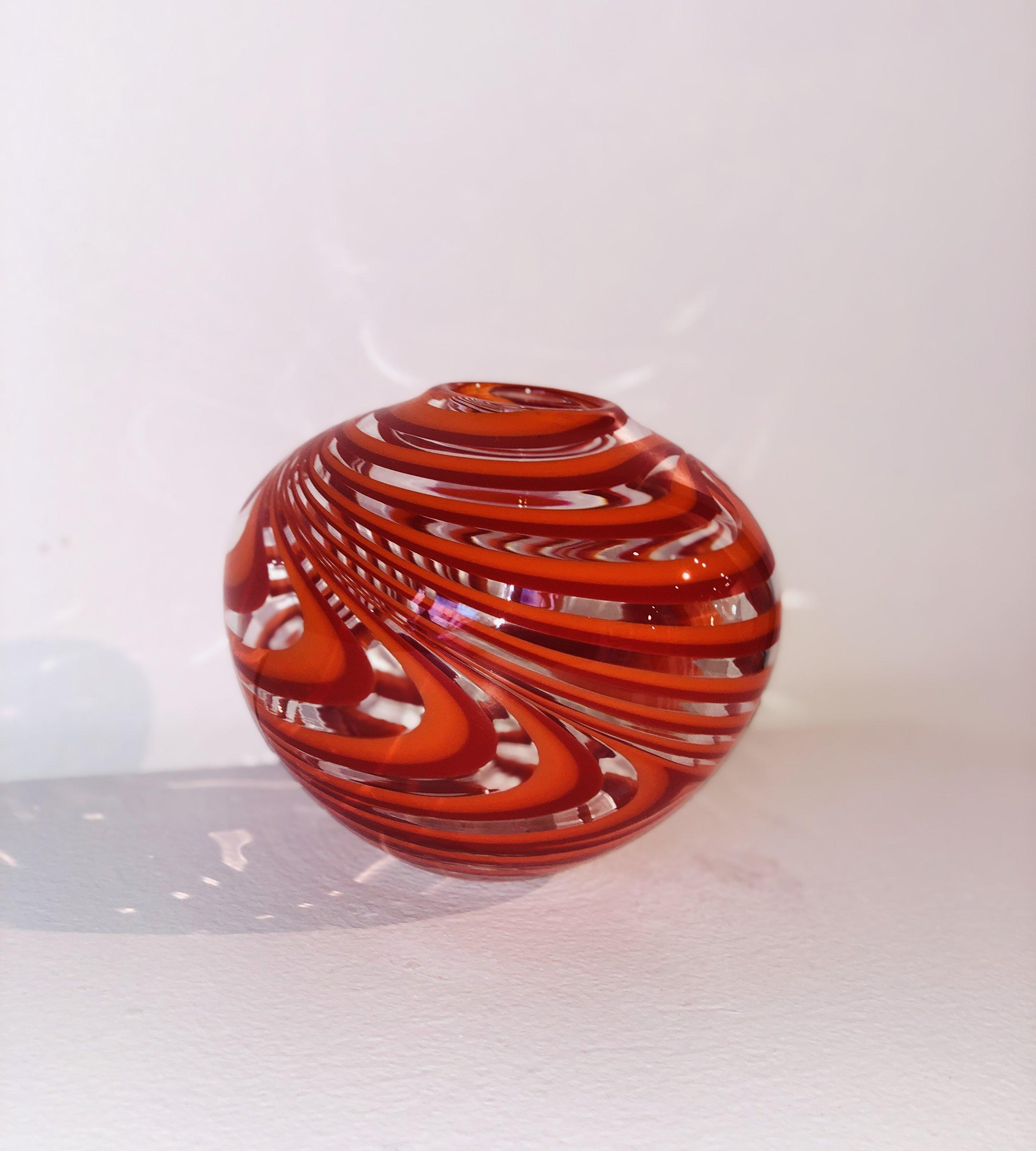 Red, Orange Low Vase