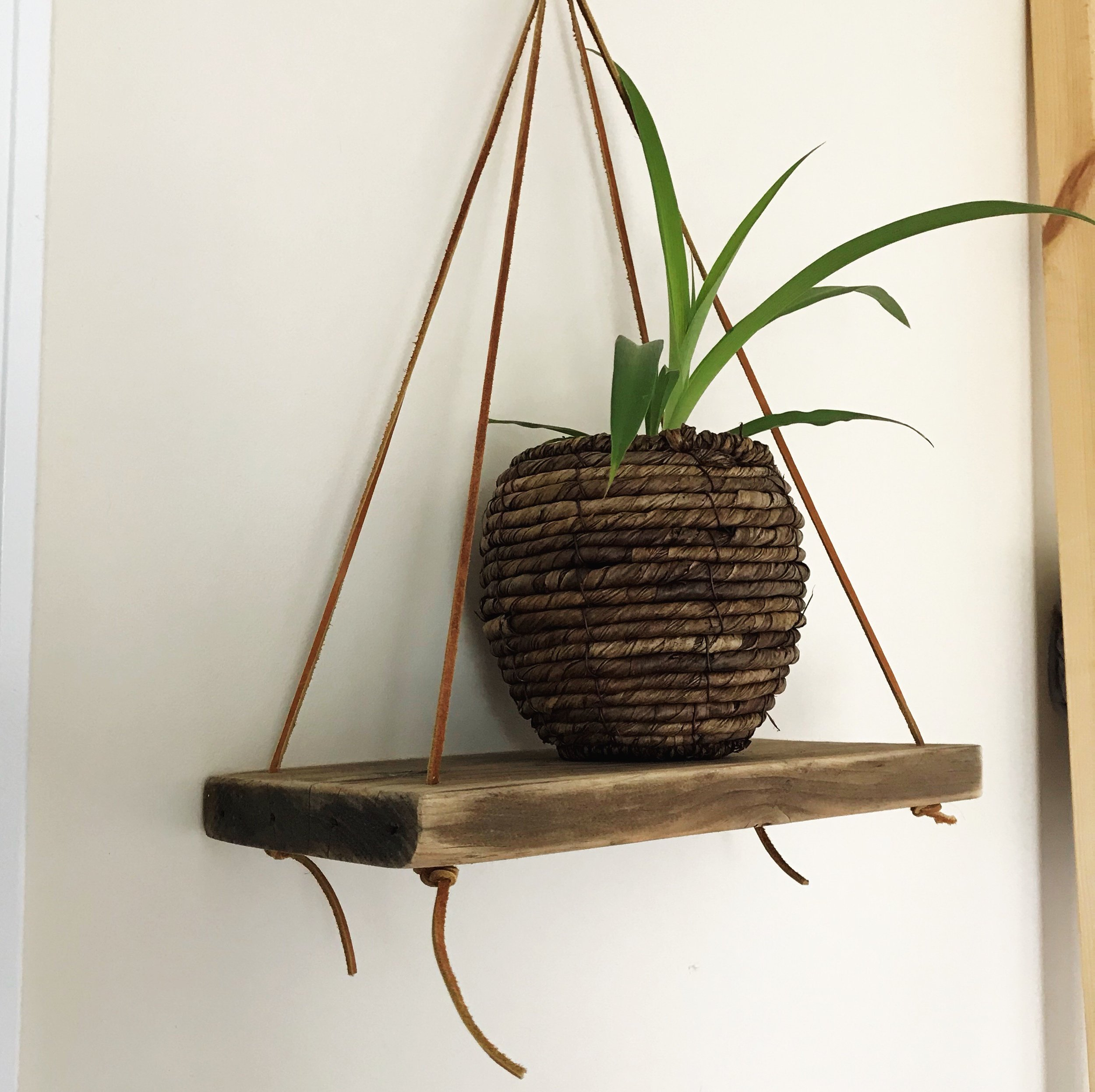 Hanging Shelf with leather cord
