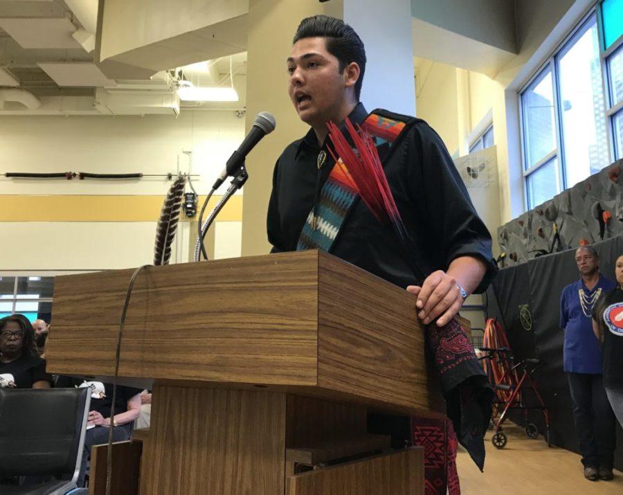 Student Antonio Garcia speaks in favor of the American Indian Academy of Denver at a school board meeting in May 2018.  PHOTO:  Melanie Asmar/Chalkbeat