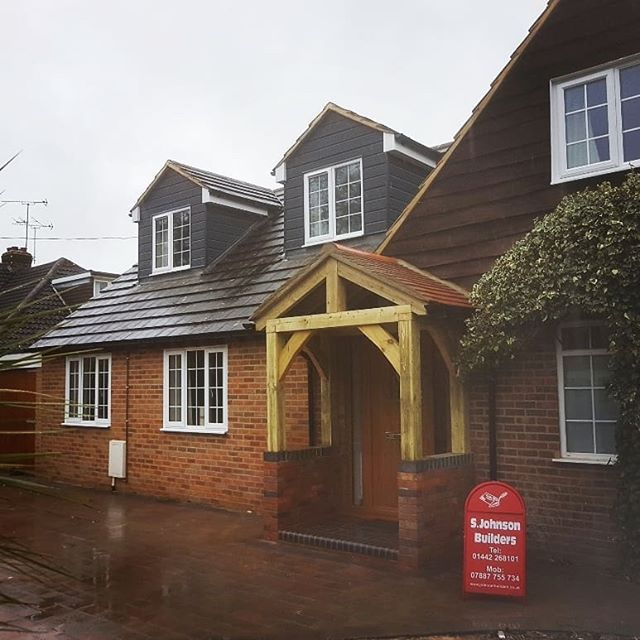 Front porch, Garage conversion and a new driveway.  #porch #bespoke #driveway #conversion #garage #builders #carpentry #homeimprovements #builders #architects #dontmoveimprove #craftsmenship