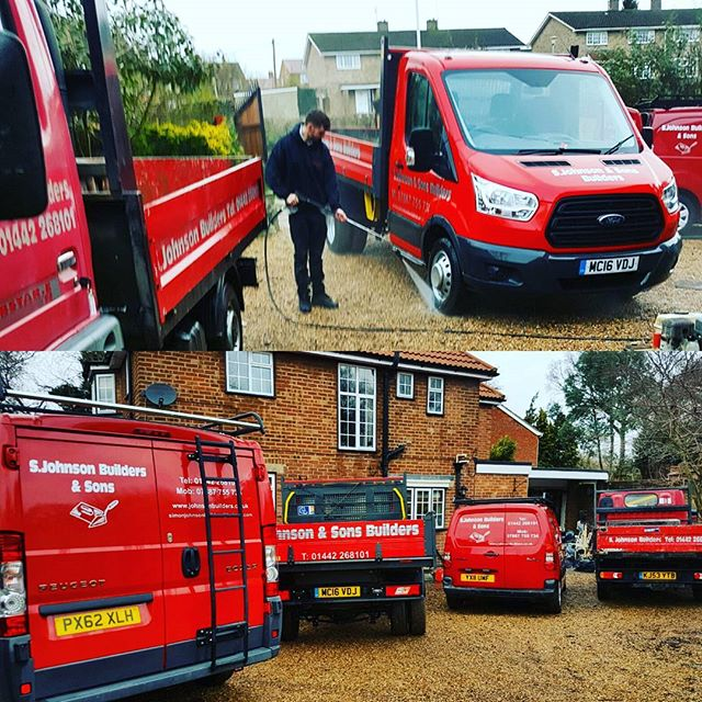 Vans all washed ready for the newyear ahead #vans #2017 #sjohnsonandsonsbuilders