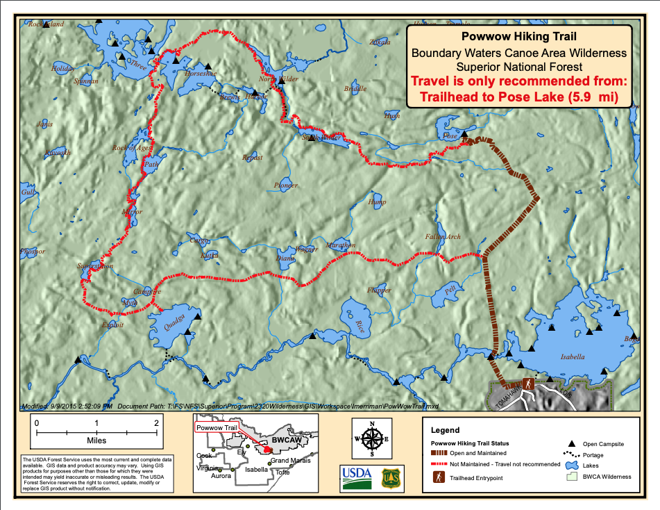 U.S. Forest Service's map of the PowWow Trail