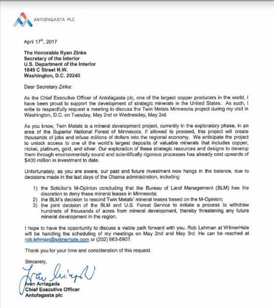 Letter from Antofagasta's CEO to Secretary Zinke