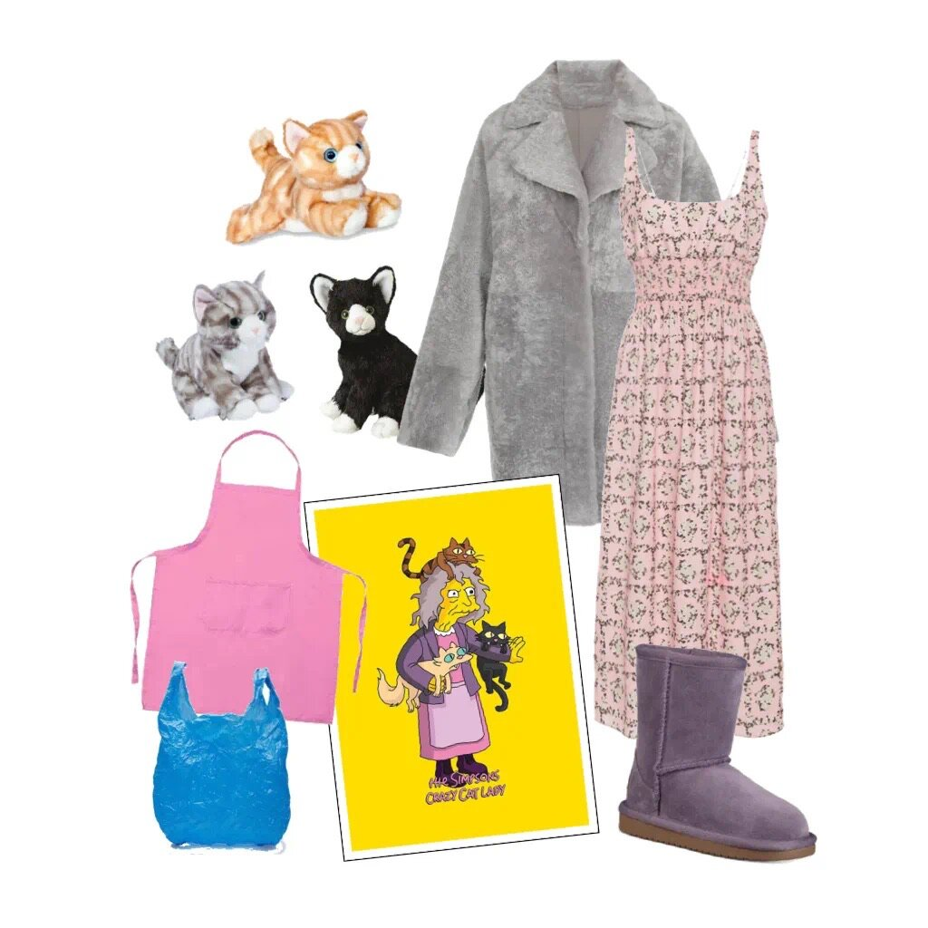 CRAZY CAT LADY - Bathrobe or a teddy coat (still going strong?)+ flowy floral dress + uggs or other ugly boots+ plastic bag (reuse reuse reuse!)+ plush cats (preferably borrowed)